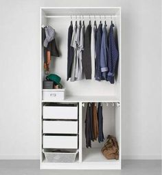 9 Storage Ideas For Small Closets 9 Storage Ideas For Small Closets // Rather than getting a custom closet makeover, install a storage system that can be configured in various ways and can be changed as your wardrobe changes. Small Closet Storage, Closet Storage Systems, Ikea Closet Organizer, Small Master Closet, Tiny Closet, Small Closet Organization, Small Closets, Bedroom Storage, Small Wardrobe
