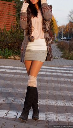 If I still had those legs: white tank, grey mini, peach shirt, grey sweater with faux fur trim on collar and hood, slouchy leg warmers, boots, fingerless gloves