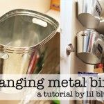 Hanging Metal Storage Bins (A Tutorial) inside pantry door