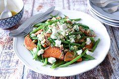 Qooking.ch | Salade haricots, patates douces, noix & feta Cobb Salad, Feta, Chicken, Beans Recipes, Sweet Potato, Original Recipe, Kitchens, Projects, Cubs