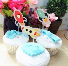 Nieuwe Verkoop 150 Stks Buitenste Ruimte Raket Cupcake Topper Cake Accessoires Kids Verjaardagsfeestje Levert Decoratie Event Feestartikelen(China (Mainland))