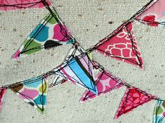 Love this simple bunting and rough stitching. This would be cute on so many things!