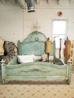 Painted Cottage Romantic French Aqua Eastern or California King Bed.
