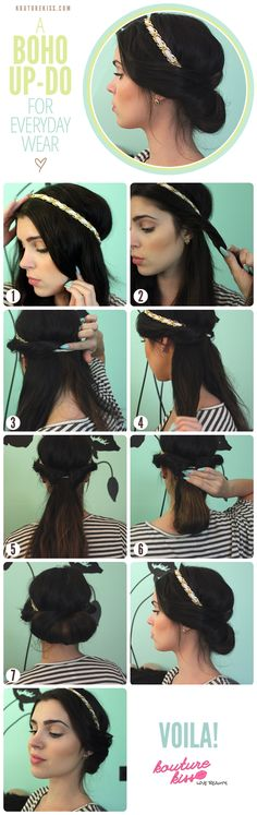 boho, updo, hair tutorial, i've actually tried this, very cute up do! Looks like Princess Jasmine's hair :D Vintage Hairstyles, Pretty Hairstyles, Cute Hairstyles, Wedding Hairstyles, Hairstyle Ideas, Easy Hairstyle, Medium Hairstyle, Summer Hairstyles, Braided Hairstyles