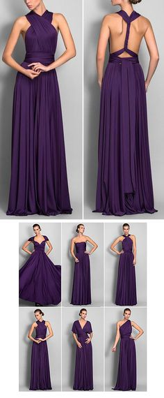 Bridesmaid Convertible Dress $159 I love the rich color and the simplicity of the dress. The fabeic #purplewedding