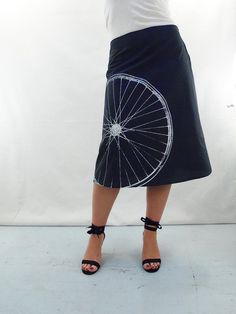 Bicycle Fabric Printed Skirt - Aline Cotton Skirt - Silk Screen Printed to Order
