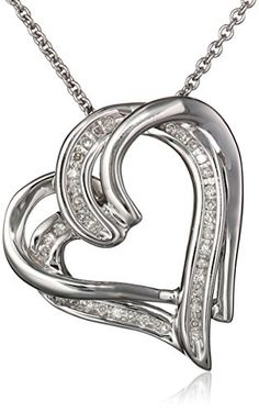 Sterling silver diamond heart pendant necklace 18 beautiful sterling silver and diamond double heart pendant necklace 110 cttw 18 mozeypictures Choice Image