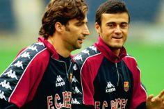 Pizzi Junto a Luis Enrique en un entrenamiento