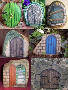 These are my favorite fairy gnome doors.  If you don't know, gnome doors go on trees and fairy doors go on fairy houses.  These are all made by painting rocks and coating them in polyurethane to make them weatherproof.
