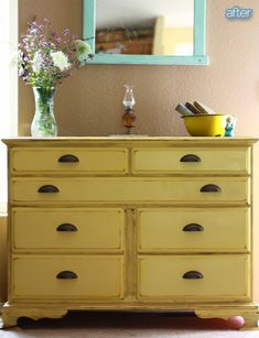 "Small dresser - after.....love this color, although it would ""go"" in my house...and I love those handles!"
