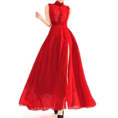 Sleeveless Turn Down Collar Lace Splicing Slit Design Dress