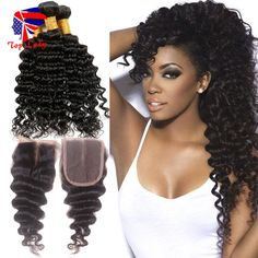 82.25$  Watch now - http://ali24t.worldwells.pw/go.php?t=32698263968 - Brazilian Deep Wave With Closure 3pcs Hair Bundles With Lace Closures Brazilian Deep Wave Virgin Hair 3pcs Top Lady Best Hair 82.25$