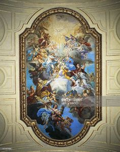Coronation of St Cecilia, 1725, fresco by Sebastiano Conca (1680-1764), vault from the central nave, Basilica of St Cecilia, Rome. Italy, 18th century.