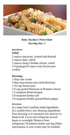 recipe: ruby tuesday ham and pea pasta salad recipe [31]