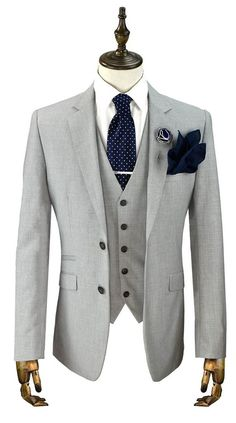Men Light Gray Groom Tuxedos Suit Fleck Classic Formal Wedding Suit Custom Made - Suits - Wedding Mens Tweed Suit, Tweed Suits, Mens Fashion Suits, Mens Suits, Groom Suit Vintage, Tweed Wedding Suits, Light Grey Suits, Moda Formal, Designer Suits For Men