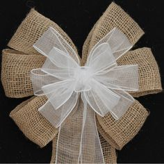 Burlap and White Sheer Wire Edge Rustic by PackagePerfectBows