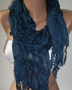 Handmade  Dark Blue Cotton Shawl by womann on Etsy, $14.90