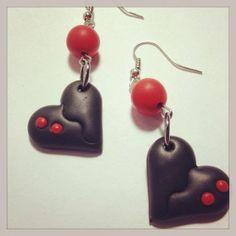 Polymer Clay Heart Dangle Earrings.