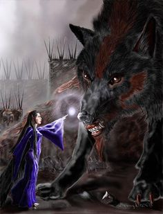Carcharoth was bred from the foul breed of Draugluin, the first Werewolf, and fed flesh by Morgoth himself.  Carcharoth became involved with the Quest for the Silmaril when Beren and Lúthien had to pass him on their way in. Lúthien enchanted him with her magic, but on their way out Carcharoth attacked before Lúthien could enthral him again. Beren held out the captured Silmaril in an attempt to stay the beast, but Carcharoth bit off Beren's hand at the wrist with Silmaril and all.