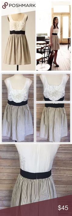 """Anthropologie Burlapp Rosette Dress Size L Measurements:  Bust: 38"""" Waist: 32"""" Hips: 36"""" Length: 34""""  100% Cotton  *All measurements are approximate with item lying flat.   *We ship out M-F. If you purchase your item on Friday it will ship out Monday.  Stock #2031 Anthropologie Dresses"""
