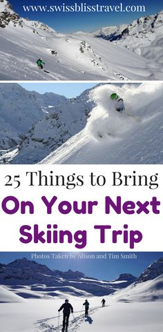 a skiing trip is exciting, but what should you bring? We will tell you 25 things to bring on your skiing trip to make sure you stay warm and have fun! Come check out our skiing packing list and save it to your travel board so you can find it later. Packing List For Travel, Packing Lists, Travel Europe, Travel Advice, Travel Tips, Travel Stuff, Travel Hacks, Travel Destinations, Kayaking Tips