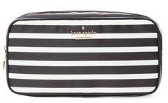 6047792a189b Kate Spade Black and White Ezra Nylon Large Classic Cosmetic Case. Get the