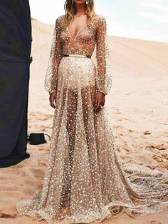 ef88b38774a Bohemia Floor-Length Sequins V-Neck Plain Lantern Sleeve Maxi Dress