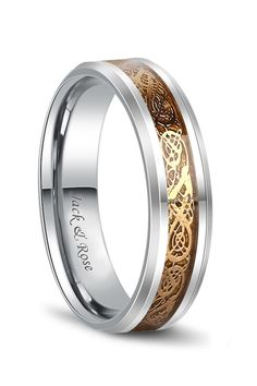 48df95744 Gold Celtic Rings Dragon Tungsten Carbide Wedding Band 6mm 8mm