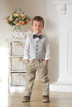 Ring bearer vest and pants Boys outfit Autumn winter by mimiikids