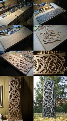 Heorot WIP by Thorleifr on DeviantArt Woodworking Tool Set, Unique Woodworking, Easy Woodworking Projects, Woodworking Videos, Arte Viking, Viking Art, Viking Decor, Viking Woman, Wood Carving Patterns