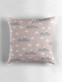 Pink clouds cushion, Mountain cushion, Nursery decor, Pink nursery decor, Pink nursery cushion, Pale pink cushion, Pink scandi cushion by ShadowbrightLamps on Etsy https://www.etsy.com/uk/listing/590757976/pink-clouds-cushion-mountain-cushion