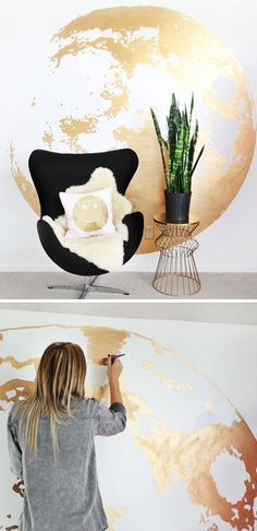 Beautiful wall painting l DIY mural in gold paint yourself - Wandgestaltung Deco Design, Wall Design, House Design, Design Design, Creative Design, Design Ideas, Gold Diy, Diy Ouro, Diy Home Decor