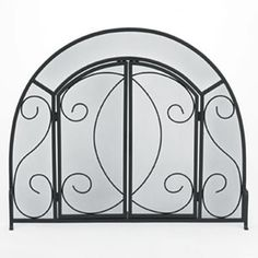 Decorative fireplace screens wrought iron foter gates for living decorative woodfield scroll black wrought iron arched fireplace screen with doors teraionfo