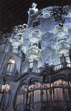 Casa Batllo at night, Barcelona, Spain.