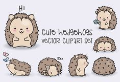 High quality vector clipart. Cute hedgehogs vector clip art. Perfect for creating greeting cards,invitations and stationery, decorating your