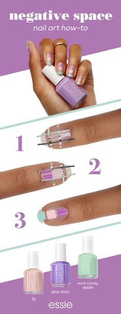 Show off a negative space mani with a trio of your favorite essie colors with this cute, colorful nail art how-to. Get the look with fiji, play date and mint candy apple. Find more mani inspiration at essie.com