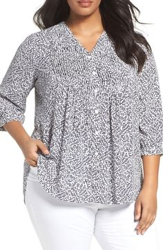 5b4cb8da3138b Foxcroft Dots and Dashes Blouse (Plus Size) Plus Size Work