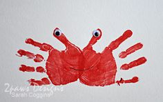 crab from handprints.  Thinking about a seashore nursery theme some day--would be a good tie-in.