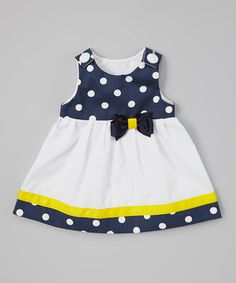 Look what I found on #zulily! Navy Polka Dot Bow Janie Mae Jumper - Infant, Toddler & Girls by Caught Ya Lookin' #zulilyfinds