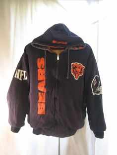 7fb168089 VINTAGE CHICAGO BEARS ALL OVER REVERSIBLE JACKET HOODIE ADULT SZ L NFL  FOOTBALL  nfl