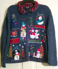 Studio Joy Knitted Blue Fleck Appliqued Plaid, Snowmen ,Christmas Trees, Sleigh, Ugly Christmas Cardigan With Collar Size XL by AntiquesandStuff56 on Etsy