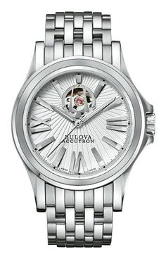 Men's Bulova Accutron Kirkwood Watch Accutron. $995.00. From the Kirkwood Collection. With an on-dial aperture highlighting the Sellita SW200, 26-jewel, self-winding mechanical movement as an integral design element, this intriguing timepiece includes a patterned silver dial, luminous hands, classic seven-row bracelet and locking deployment buckle closure