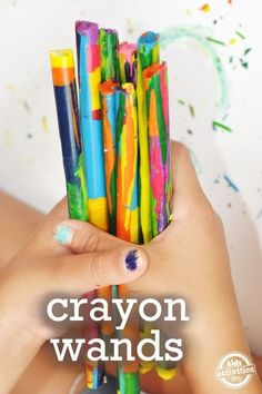 Round up all the crayon bits and pieces around the house and turn them into crayon wands. fun kids crafts, kid ideas, #kids #diy kids diy ideas