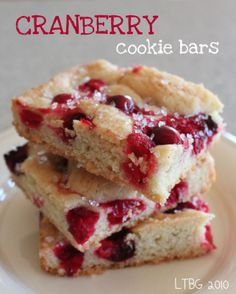 Cranberry Cookie Bars.