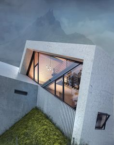 the concrete 'pentahouse' by wamhouse is inspired the shape of mountains is part of Concrete house - the 'pentahouse' building is envisioned by wamhouse studio using a series of extruded pentagons, creating sloping faces like a mountain Residential Architecture, Landscape Architecture, Architecture Design, Futuristic Architecture, Solar Licht, Luxury Boat, Deconstructivism, Concrete Houses, Beaux Villages