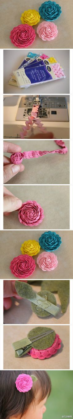Rick-rack flowers DIY  can make into hair clip @Beckee Carrier -- I have a buttload of rik rak if you want to make some of these for handbugs and stuff...would be super cute!