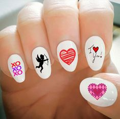 Nail Decals, Valentine's Day Nail Decals, Water Transfer Nail Decals, Nail Tattoo, Fashionable Nail Art, Custom Nail Decals by ShopRisasPieces on Etsy