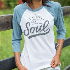 It Is Well With My Soul / White & Denim / Baseball Tee  Want!