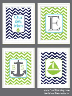 Nursery Decor Set - Nautical Theme Set - Sailboat - Anchor - Chevron - Letter Monogram - Set of Four 8x10 Art Prints. $60.00, via Etsy.
