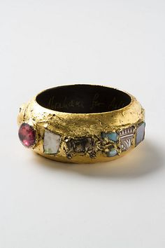 mosaic findings bangle. 23k gold leaf over acrylic resin, lacquer + found objects. #inspo